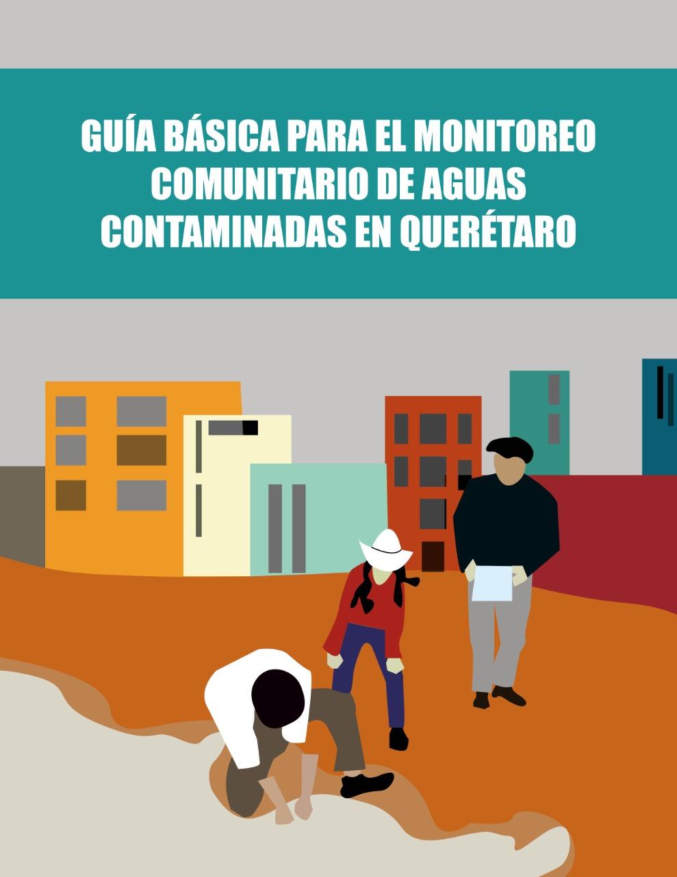 Ilustración de tres personas participando en el monitoreo comunitario de aguas contaminadas, al fondo una ciudad.